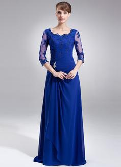A-Linie/Princess-Linie Rechteckiger Ausschnitt Sweep/Pinsel zug Chiffon Kleid für die Brautmutter mit Rüschen Perlen verziert Applikationen Spitze (008006306)