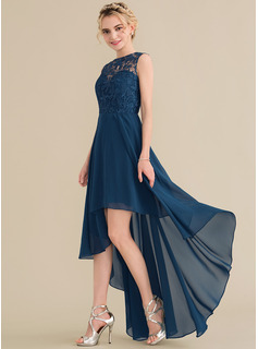 A-Line/Princess Scoop Neck Asymmetrical Chiffon Lace Bridesmaid Dress (007144767)