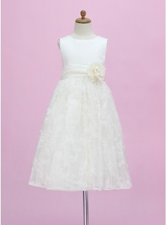 A-Line/Princess Ankle-length Flower Girl Dress - Satin/Lace Sleeveless Scoop Neck With Flower(s) (010005340)