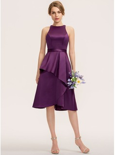A-Line Scoop Neck Asymmetrical Satin Bridesmaid Dress With Cascading Ruffles (007190707)