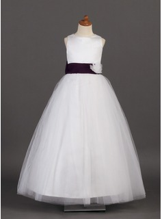 A-Line/Princess Scoop Neck Floor-Length Satin Tulle Flower Girl Dress With Sash Flower(s) Bow(s) (010002142)