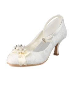 Women's Lace Spool Heel Closed Toe Pumps With Imitation Pearl Rhinestone (047011820)