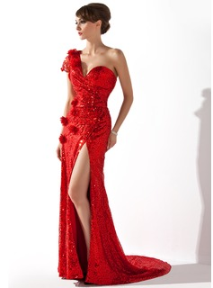 A-Line/Princess One-Shoulder Court Train Sequined Evening Dress With Ruffle Flower(s) (017006702)