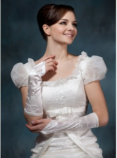 Elastic Satin Elbow Length Bridal Gloves (014020523)