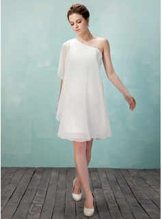 Sheath/Column One-Shoulder Knee-Length Chiffon Homecoming Dress (022009157)