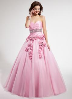Duchesse-Linie Herzausschnitt Bodenlang Taft Tüll Quinceañera Kleid (Kleid für die Geburtstagsfeier) mit Rüschen Perlen verziert Blumen (021022500)