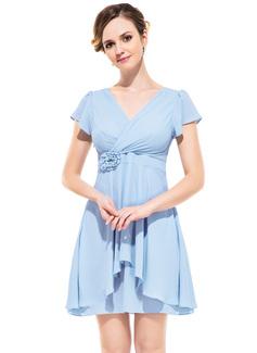 A-Line/Princess V-neck Short/Mini Chiffon Bridesmaid Dress With Flower(s) Cascading Ruffles (007052355)