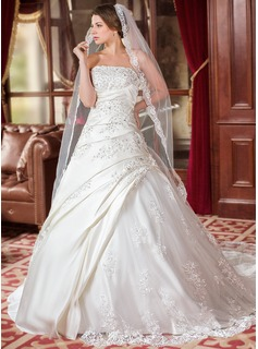 Wedding Dresses A-Line/Princess Strapless Court Train Satin Tulle Wedding Dress With Ruffle Lace Beadwork (002000616)