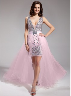 Robe de Bal de Promo Gaine Col V Assymetrique mousseline de soie Tulle Robe de Bal de Promo avec Brod (018018996)