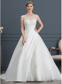 Ball-Gown Scoop Neck Court Train Satin Tulle Wedding Dress With Lace (002146036)