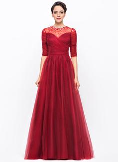A-Linie/Princess-Linie U-Ausschnitt Bodenlang Tüll Abendkleid mit Rüschen Perlen verziert Pailletten (017056105)