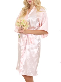 Personalized Bride Bridesmaid Flower Girl Satin With Knee-Length Personalized Robes (248185552)