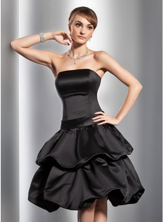 A-Line/Princess Strapless Knee-Length Satin Homecoming Dress With Ruffle Bow(s) (022014780)