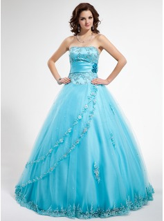 Ball-Gown Strapless Floor-Length Satin Tulle Quinceanera Dress With Beading Appliques Lace Flower(s) Sequins (021012796)