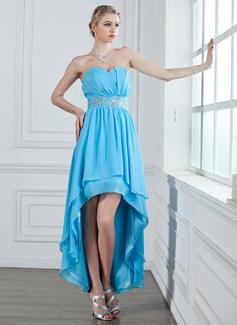 A-Linie/Princess-Linie Herzausschnitt Asymmetrisch Chiffon Festliche Kleid mit Rüschen Perlen verziert (020026029)