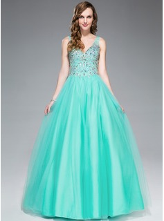 Ball-Gown V-neck Floor-Length Tulle Prom Dresses With Beading Sequins (018045167)