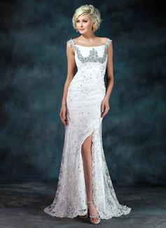 Trompete/Meerjungfrau-Linie Off-the-Schulter Sweep/Pinsel zug Spitze Kleid für die Brautmutter mit Rüschen Perlstickerei Pailletten Schlitz Vorn (008006400)