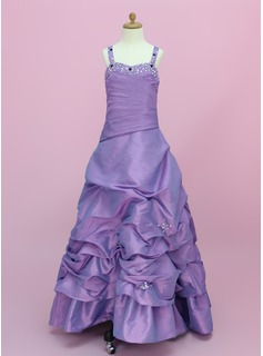 A-Line/Princess Floor-length - Taffeta Sleeveless Sweetheart With Ruffles/Beading (010002150)