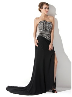 A-Line/Princess Scalloped Neck Court Train Chiffon Evening Dress With Beading (017005818)