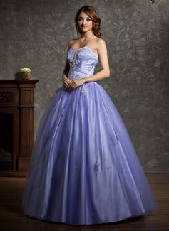 Duchesse-Linie Herzausschnitt Bodenlang Tüll Quinceañera Kleid (Kleid für die Geburtstagsfeier) mit Perlen verziert Applikationen Spitze (021004601)