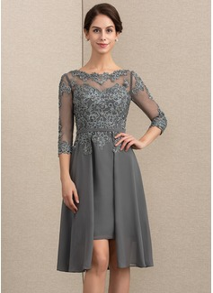 A-Linie/Princess-Linie U-Ausschnitt Asymmetrisch Chiffon Spitze Kleid für die Brautmutter mit Perlstickerei Pailletten (008164089)
