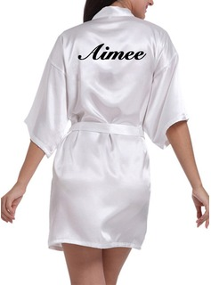 Personalized Bride Bridesmaid Charmeuse With Short Personalized Robes (248188900)