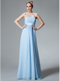 Empire Strapless Floor-Length Chiffon Charmeuse Bridesmaid Dress With Ruffle (007000840)