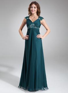 A-Linie/Princess-Linie V-Ausschnitt Bodenlang Chiffon Kleid für die Brautmutter mit Rüschen Spitze Perlen verziert (008005696)