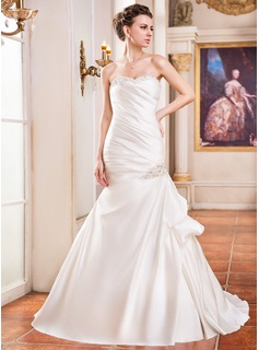 Trumpet/Mermaid Sweetheart Court Train Satin Wedding Dress With Ruffle Lace Beading Sequins (002031862)