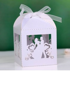 Bride & Groom Cuboid Favor Boxes With Ribbons (Set of 12) (050027008)