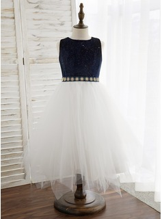 A-Line Tea-length Flower Girl Dress - Tulle/Velvet Sleeveless Scoop Neck With Bow(s)/Rhinestone (010184724)