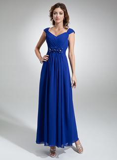 A-Linie/Princess-Linie V-Ausschnitt Knöchellang Chiffon Abendkleid mit Rüschen Perlen verziert Blumen (017020710)