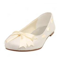 Women's Satin Flat Heel Closed Toe Flats With Bowknot Ribbon Tie (047005458)