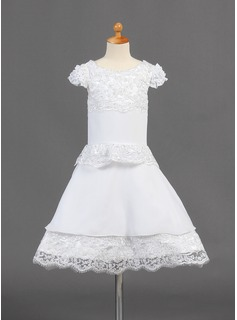 A-Line/Princess Knee-length Flower Girl Dress - Chiffon Short Sleeves Scoop Neck With Lace (010015774)