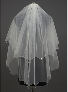 Two-tier Fingertip Bridal Veils With Beaded Edge (006034426)