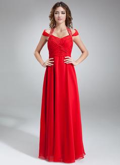 Forme Princesse Dos nu Longueur ras du sol Mousseline Robe bal d'étudiant avec Plissé Emperler (018016851)