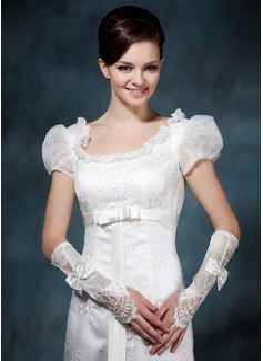 Satén elástico Codo Largo Guantes de novia (014020478)
