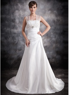 Forme Princesse Bustier en coeur Traîne moyenne Taffeta Robe de mariée avec Plissé Emperler (002011420)