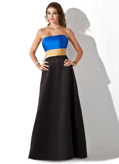A-Line/Princess Strapless Floor-Length Satin Bridesmaid Dress With Ruffle Sash (007000940)