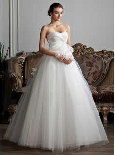 Ball-Gown Sweetheart Floor-Length Organza Tulle Wedding Dress With Ruffle Beading Flower(s) (002013802)