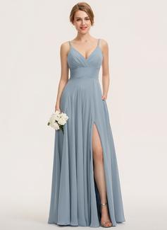 A-Line V-neck Floor-Length Chiffon Bridesmaid Dress With Ruffle Pockets (007190687)