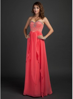 Cheap Prom Dresses Empire Sweetheart Floor-Length Chiffon Prom Dress With Beading (018015340)