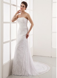 A-Line/Princess Strapless Court Train Satin Lace Wedding Dress With Beading (002000328)