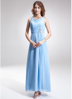 A-Linie/Princess-Linie Cowl Neck Knöchellang Chiffon Kleid für die Brautmutter mit Rüschen Perlen verziert (008006496)