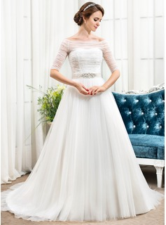 A-Line/Princess Off-the-Shoulder Chapel Train Satin Tulle Wedding Dress With Ruffle Beading Sequins (002056488)