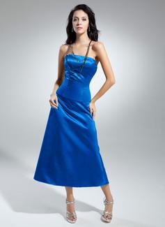 A-Line/Princess Strapless Tea-Length Satin Bridesmaid Dress With Bow(s) (007014845)