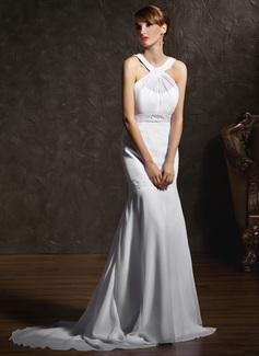 Forme Sirène/Trompette Col rond Traîne moyenne Mousseline Robe de mariée avec Plissé Emperler (002011618)