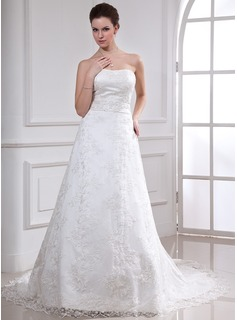 A-Line/Princess Sweetheart Chapel Train Satin Lace Wedding Dress With Beading (002000185)