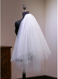 Two-tier Cut Edge Elbow Bridal Veils With Lace (006190596)