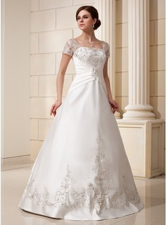 A-Line/Princess Square Neckline Floor-Length Satin Wedding Dress With Embroidered Ruffle Sequins (002012175)
